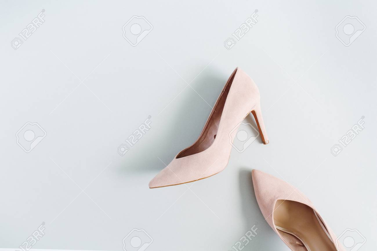 7d262263f324 Fashion Blog Look. Pale Pink Women High Heel Shoes On Blue ...