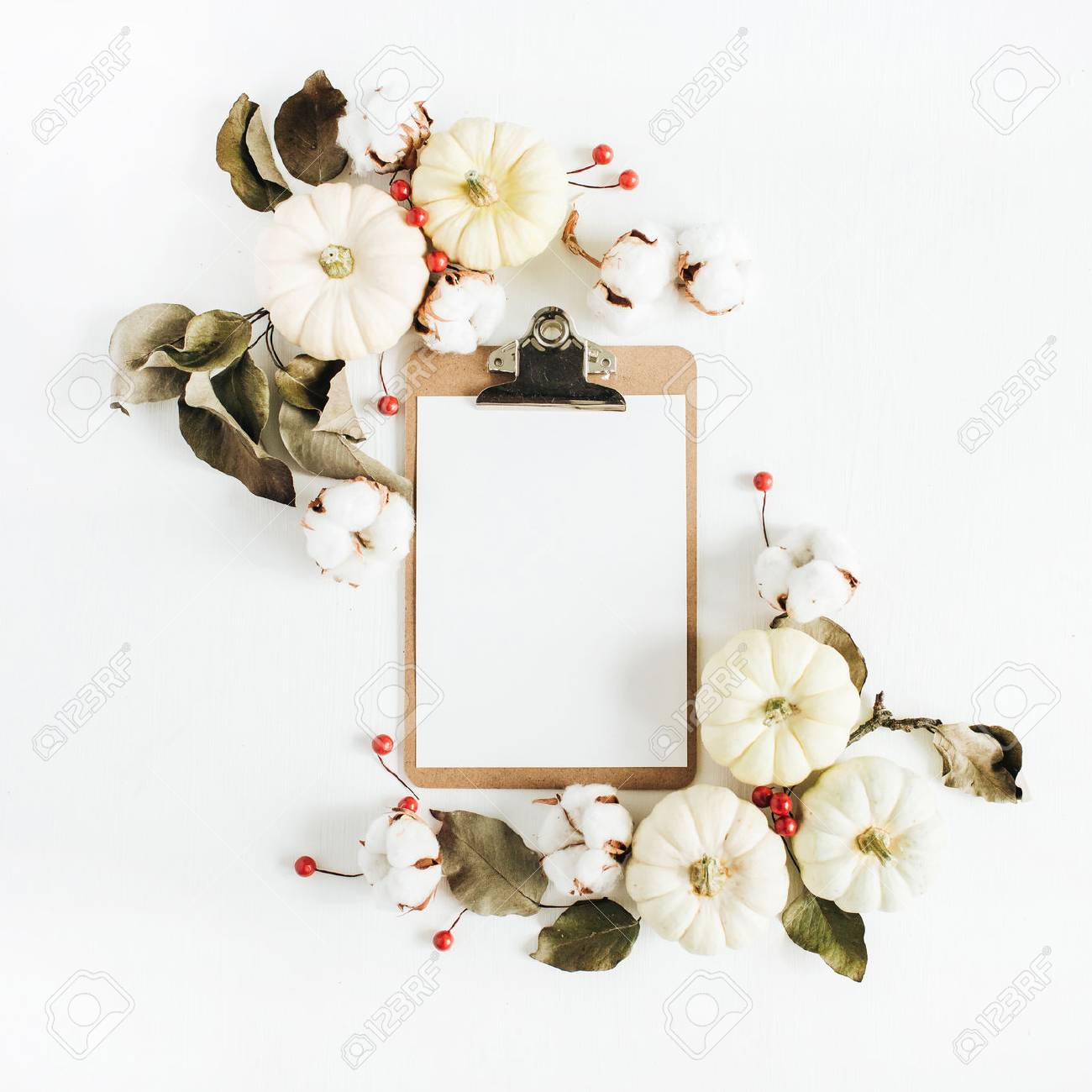 Clipboard And Frame Of White Pumpkins On White Background. Flat ...