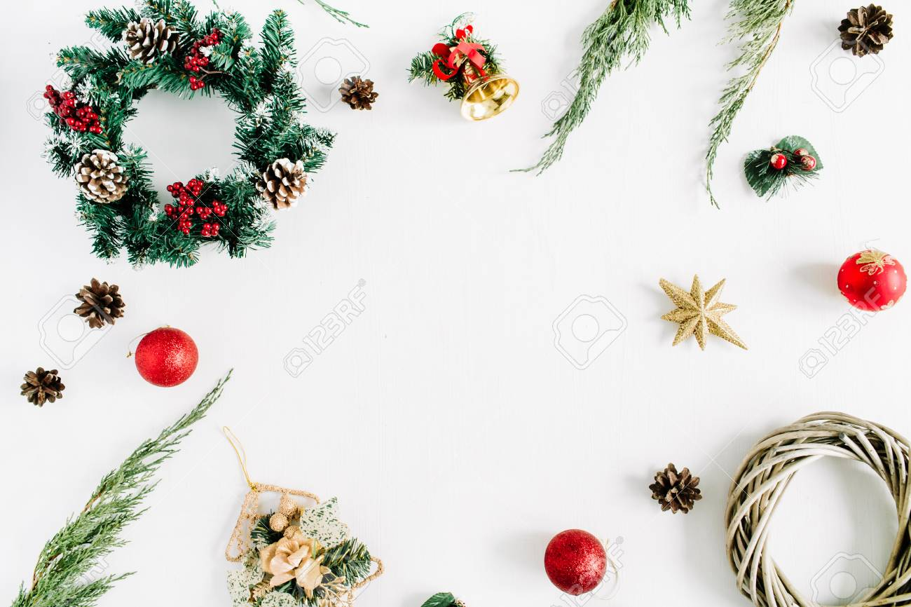Christmas Top View.Frame Made Of Christmas Decorations On White Background Flat