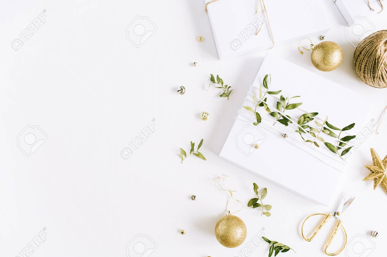 christmas gift box and decorations flat lay top view holiday composition stock photo
