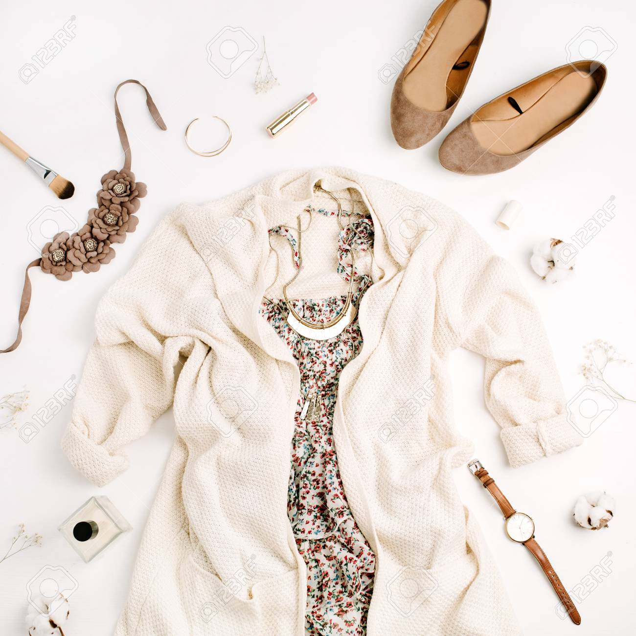 3ad8d0cde176 Flat Lay Fashion Concept. Female Clothes And Accessories: Sweater ...