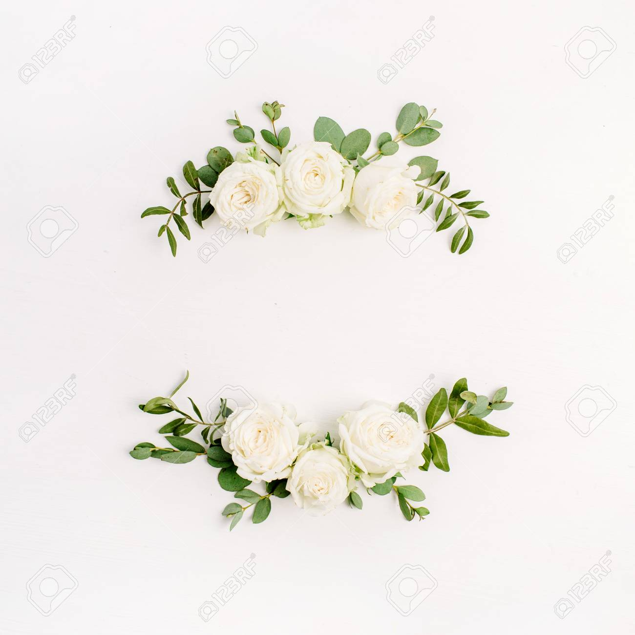 Floral Frame Wreath Of White Rose Flower Buds And Eucalyptus.. Stock ...