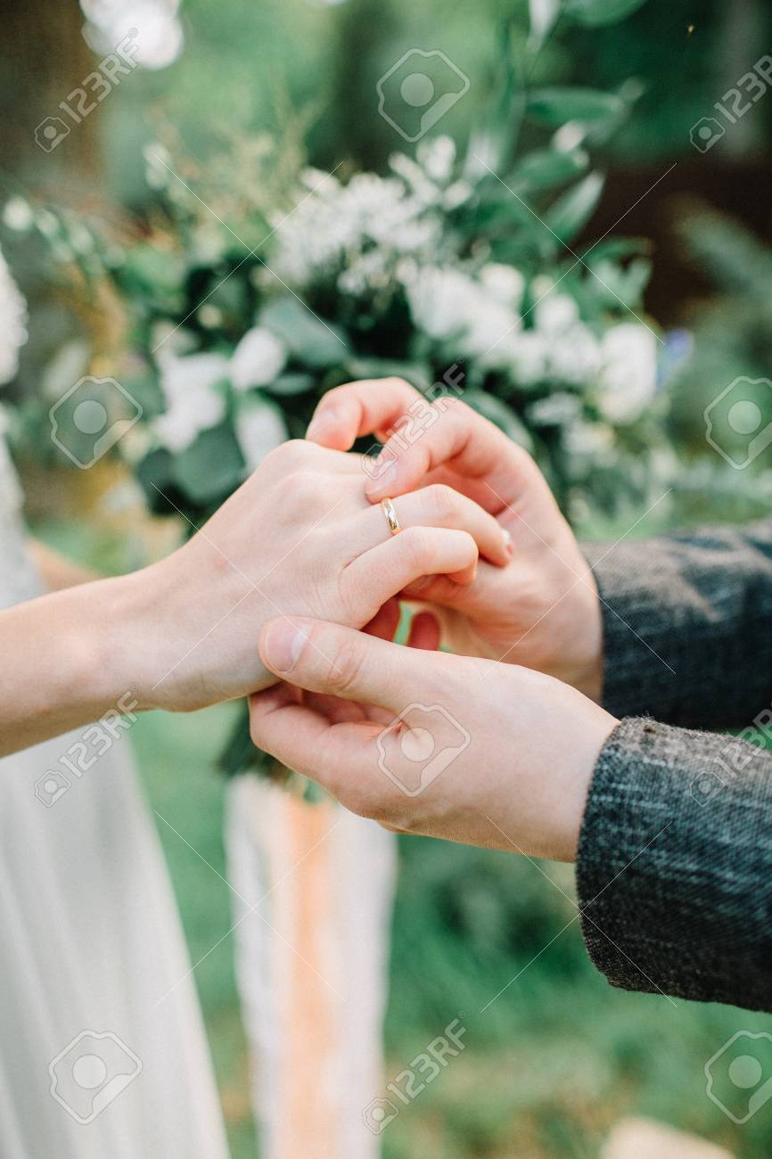 Wedding Ceremony Or Engagement Concept Wedding Rings Exchange