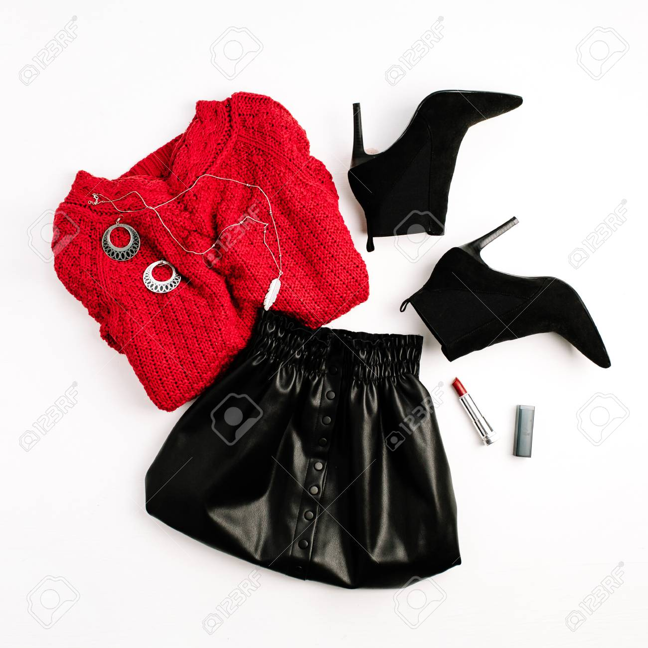 d8d6466be8 Female fashion clothes. Red sweater, black skirt, shoes and lipstick. Flat  lay