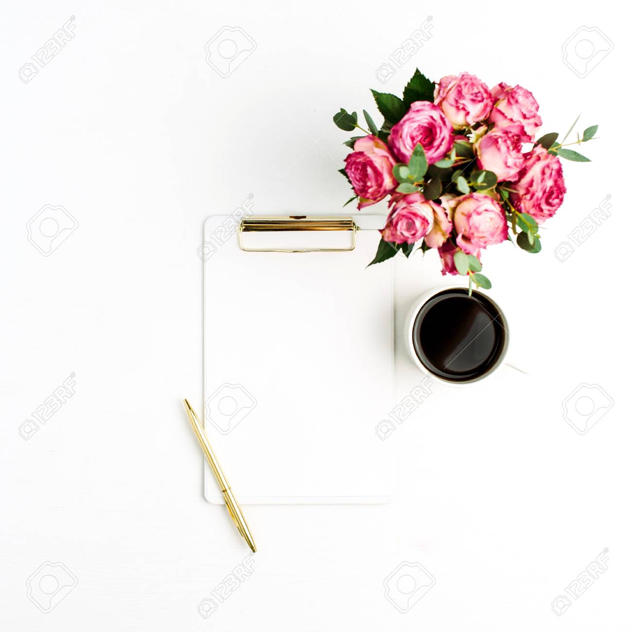 Clipboard, Rose Flowers Bouquet, Coffee And Pen On White Background ...