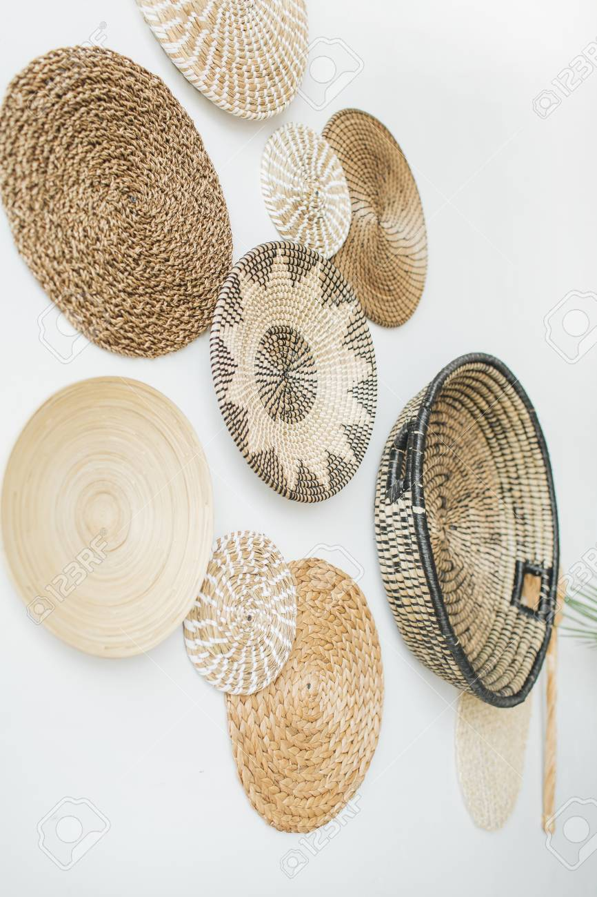 Decorative Straw Plates On White Wall Stock Photo Picture And Royalty Free Image Image 103199848