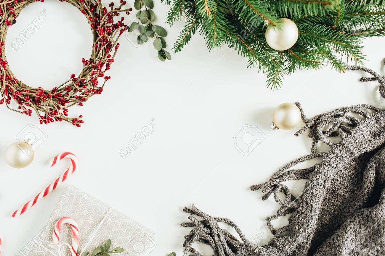 Frame Mockup With Copy Space Made Of Christmas Decorations Wreath