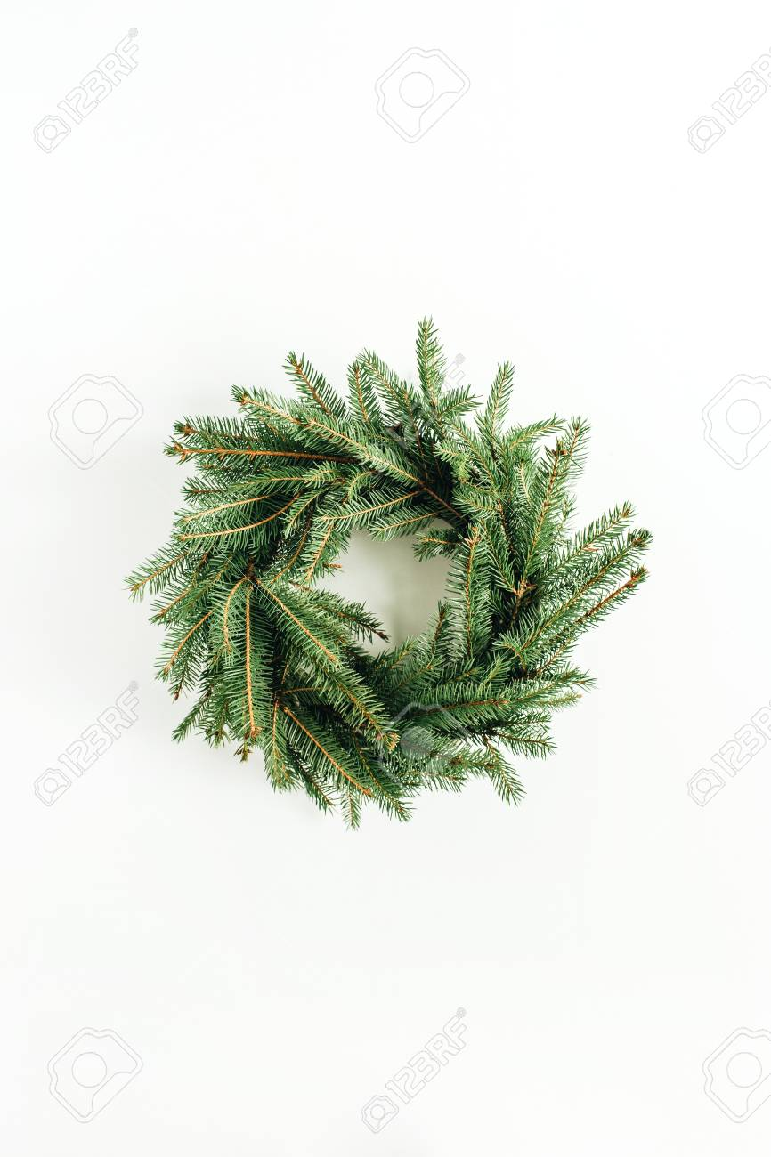 Minimalist Christmas.Wreath Frame Made Of Fir Branches On White Background Flat Lay