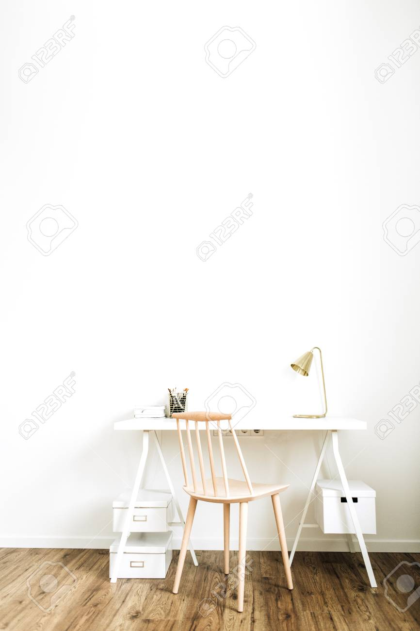 Bright Home Office Desk Workspace Nordic Modern Minimal Interior Stock Photo Picture And Royalty Free Image Image 118740843