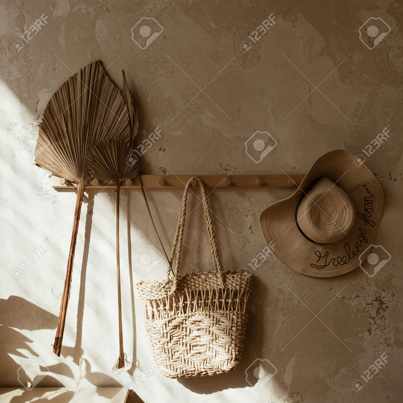 Boho Style Modern Home Interior Design Straw And Rattan Decorations Stock Photo Picture And Royalty Free Image Image 158671298