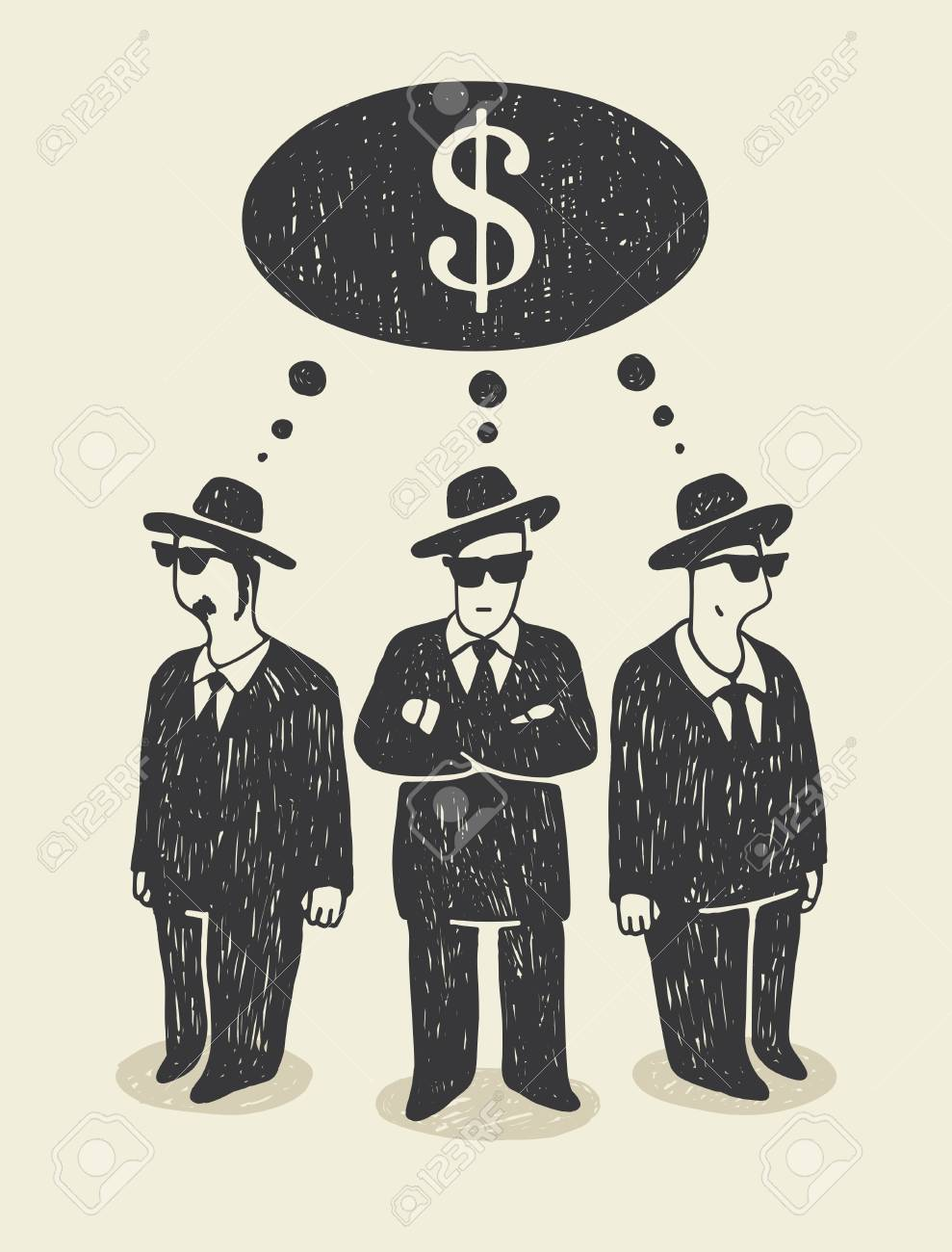 Thinking about money Stock Vector - 12251430
