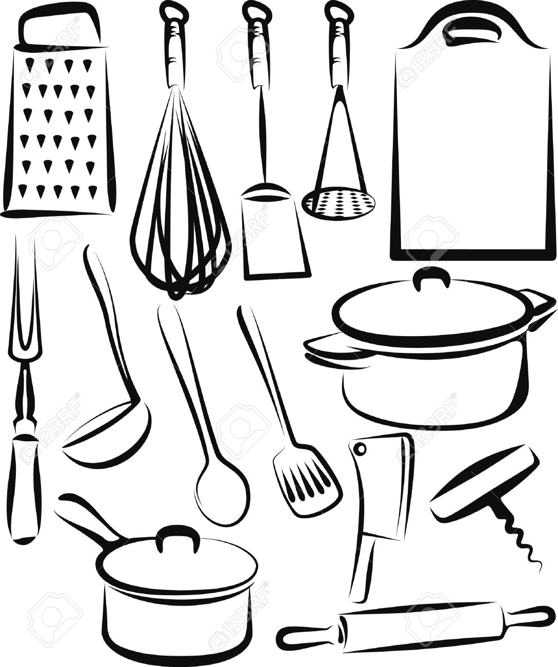 Kitchen Utensils Silhouette Vector Free 82745 Kitchen Utensil Stock Vector Illustration And Royalty Free
