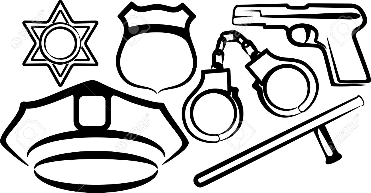 simple illustration with a set of police items royalty free