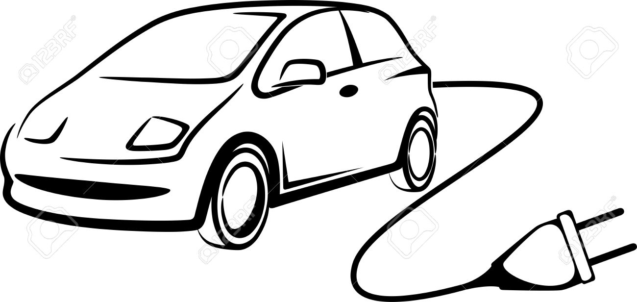 Simple Illustration With Electric Car Royalty Free Cliparts
