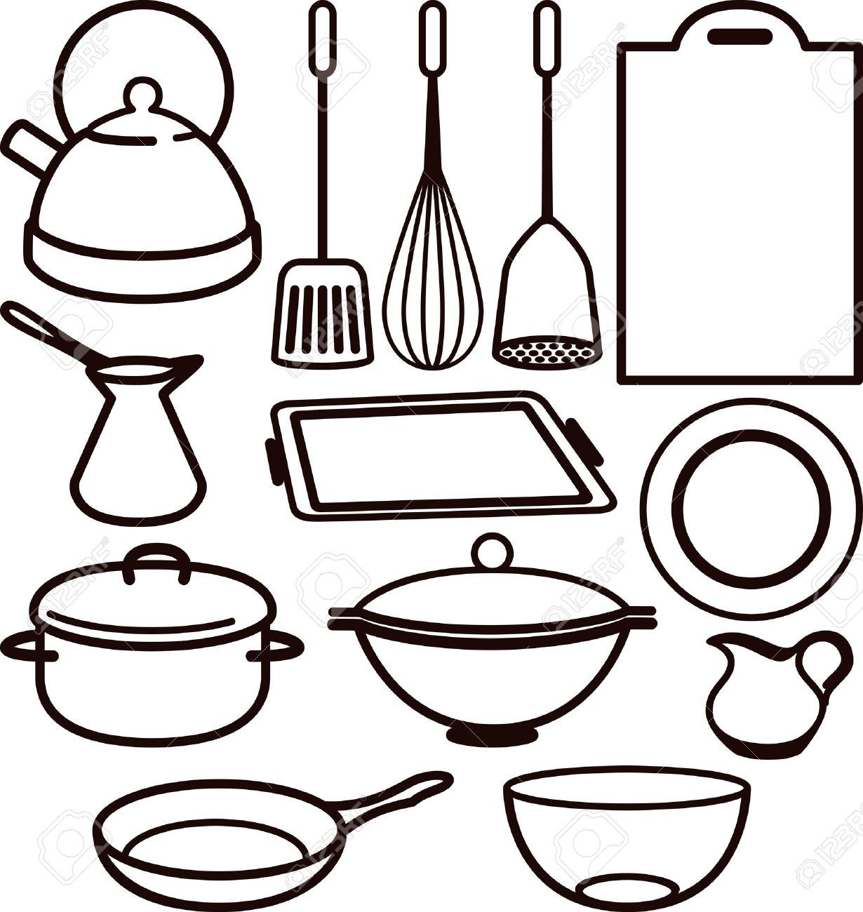 Kitchen Utensils Drawing Utensil Stock Vector 10064665 L