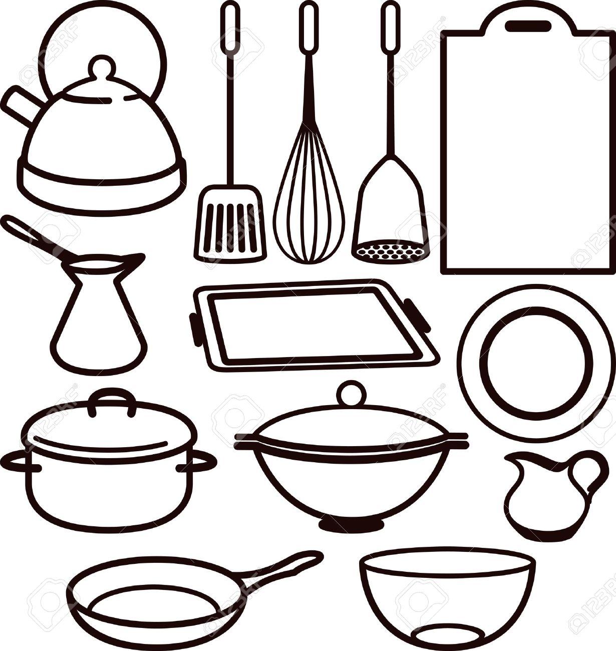 Kitchen Utensils Drawing Utensil Stock Vector 10064665 L