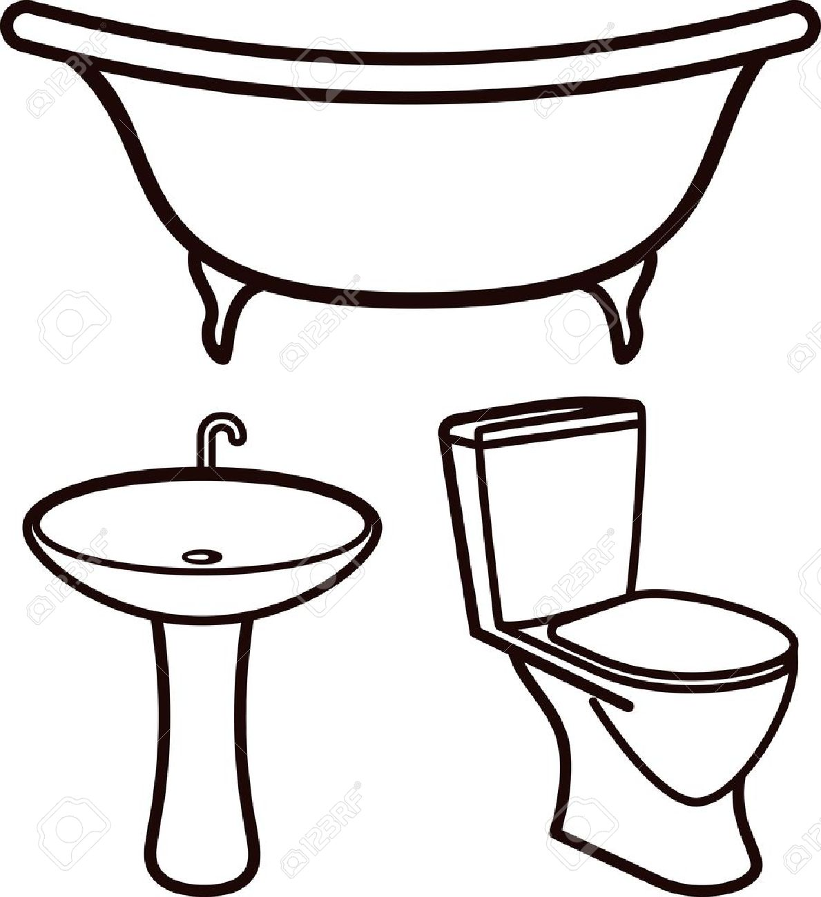Bathroom sink drawing - Vector Set Of Bathroom Elements