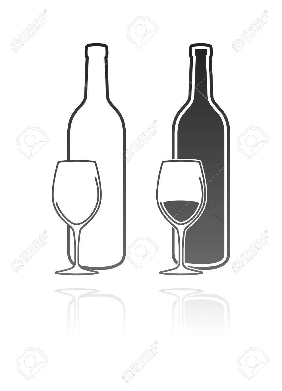 Verre à vin et l'icône bouteille