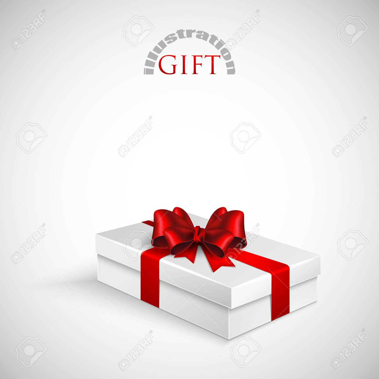 gift box with red bow and ribbon Stock Vector - 18857974