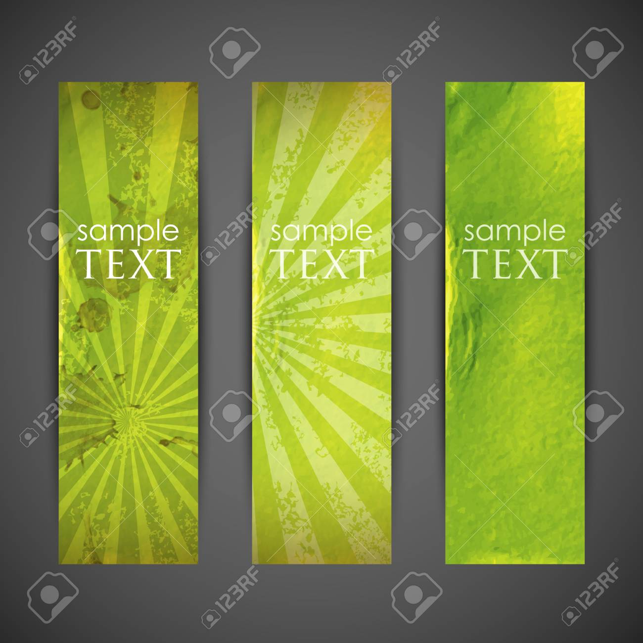 set of green banners with grunge cardboard texture Stock Vector - 18925234