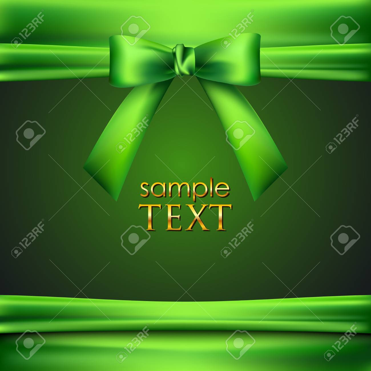 green background with bow and ribbon Stock Vector - 18925228