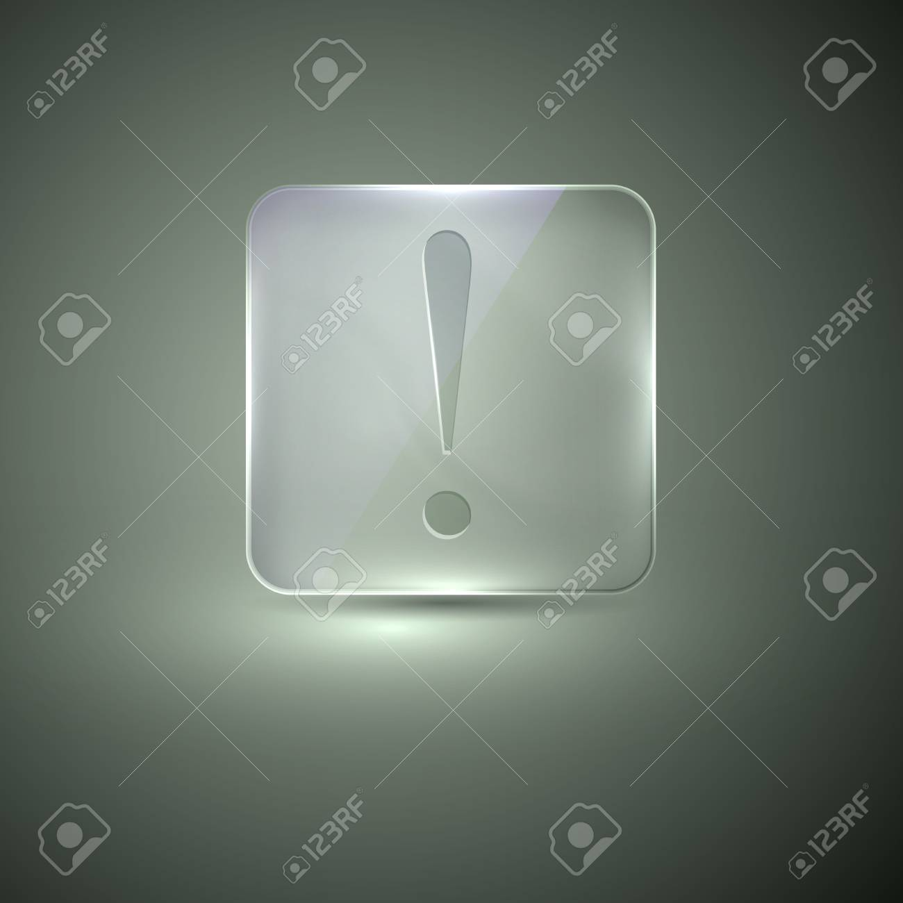 glass icon with exclamation sign Stock Vector - 21432241