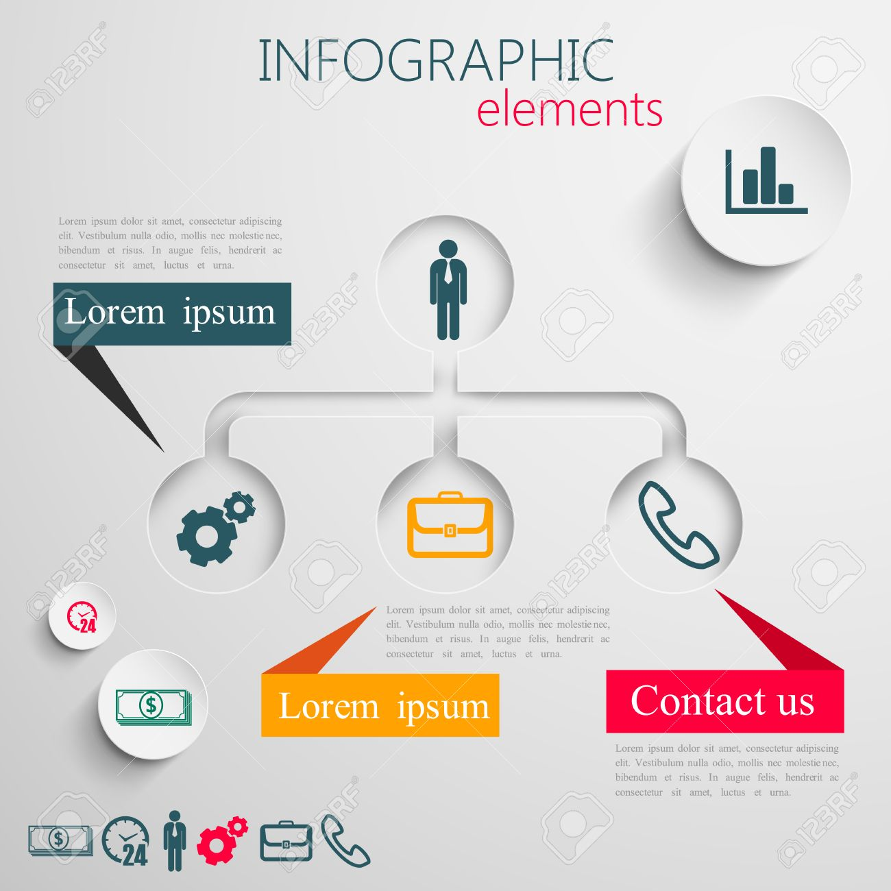 design layout of abstract 3d paper info graphic elements for print or web design  business info graphic template Stock Vector - 25204601