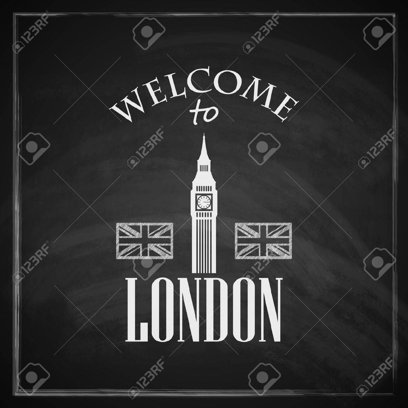 vintage illustration with big ben icon english landmark travel  - vector  vintage illustration with big ben icon english landmark travelconcept with chalkboard texture welcome to london