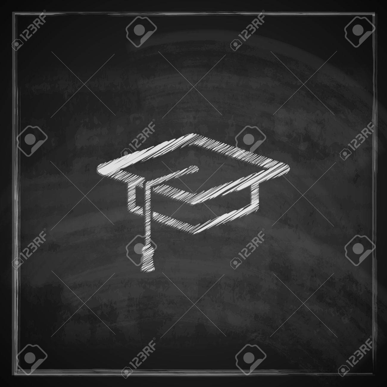 Vector - vintage illustration with graduation cap sign on blackboard  background educational concept 9ee7d6b4c81