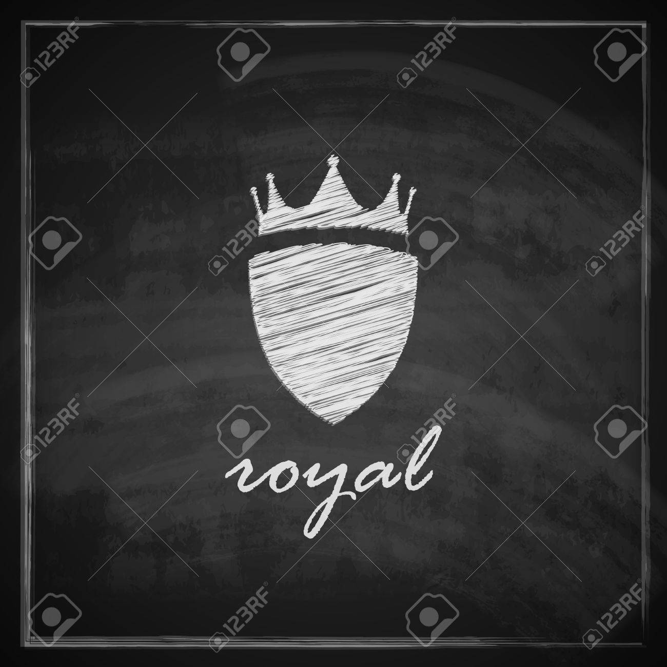 vintage illustration with crown and shield on blackboard background Stock Vector - 26195887