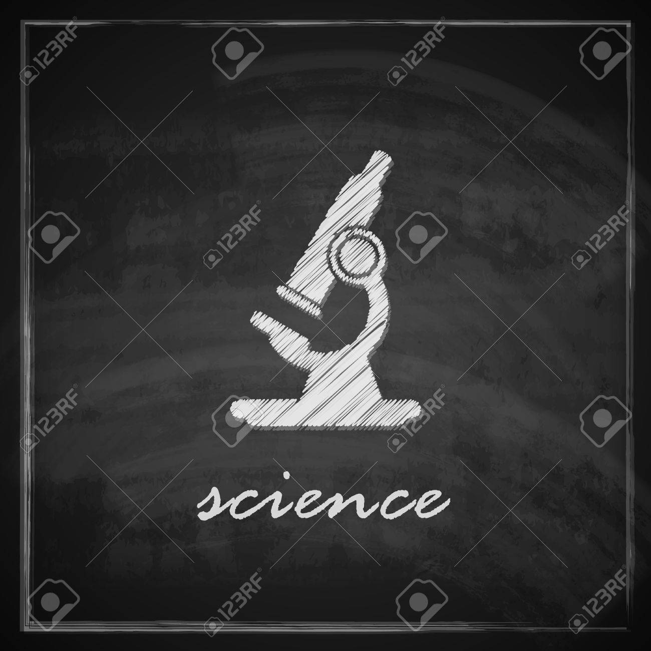 vintage illustration with microscope on blackboard background  science concept Stock Vector - 26195900