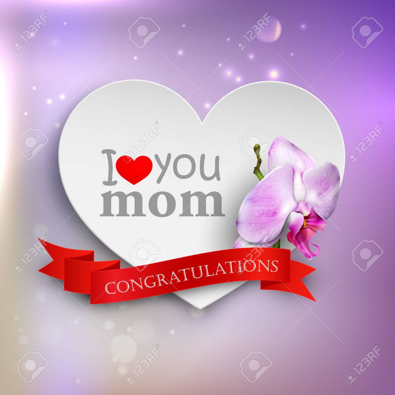 i love you mom abstract holiday background with paper hearts orchid flower and ribbon mothers: day orchid decor