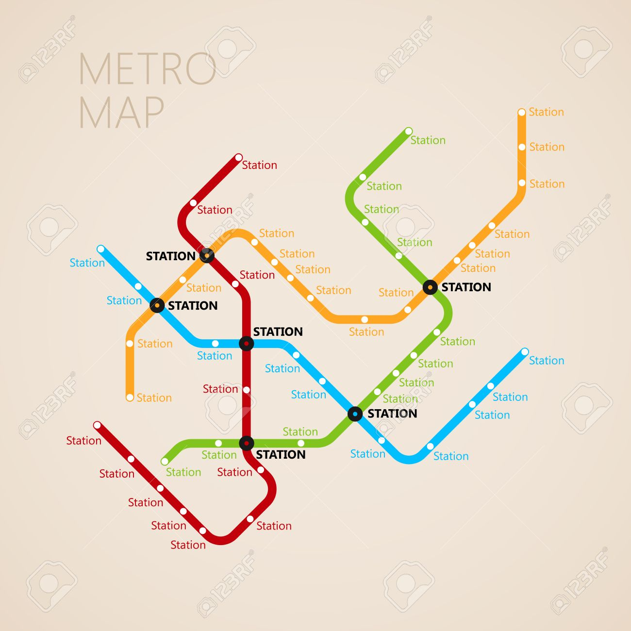 Creative Subway Map.Metro Subway Map Design Template Transportation Concept