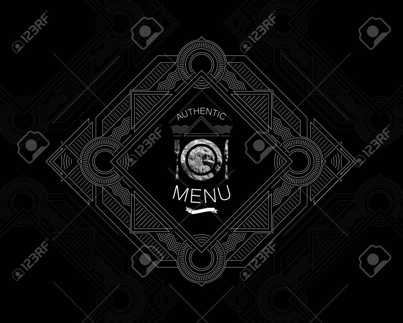 Vektor illustration mit kunstvollen restaurant menü label