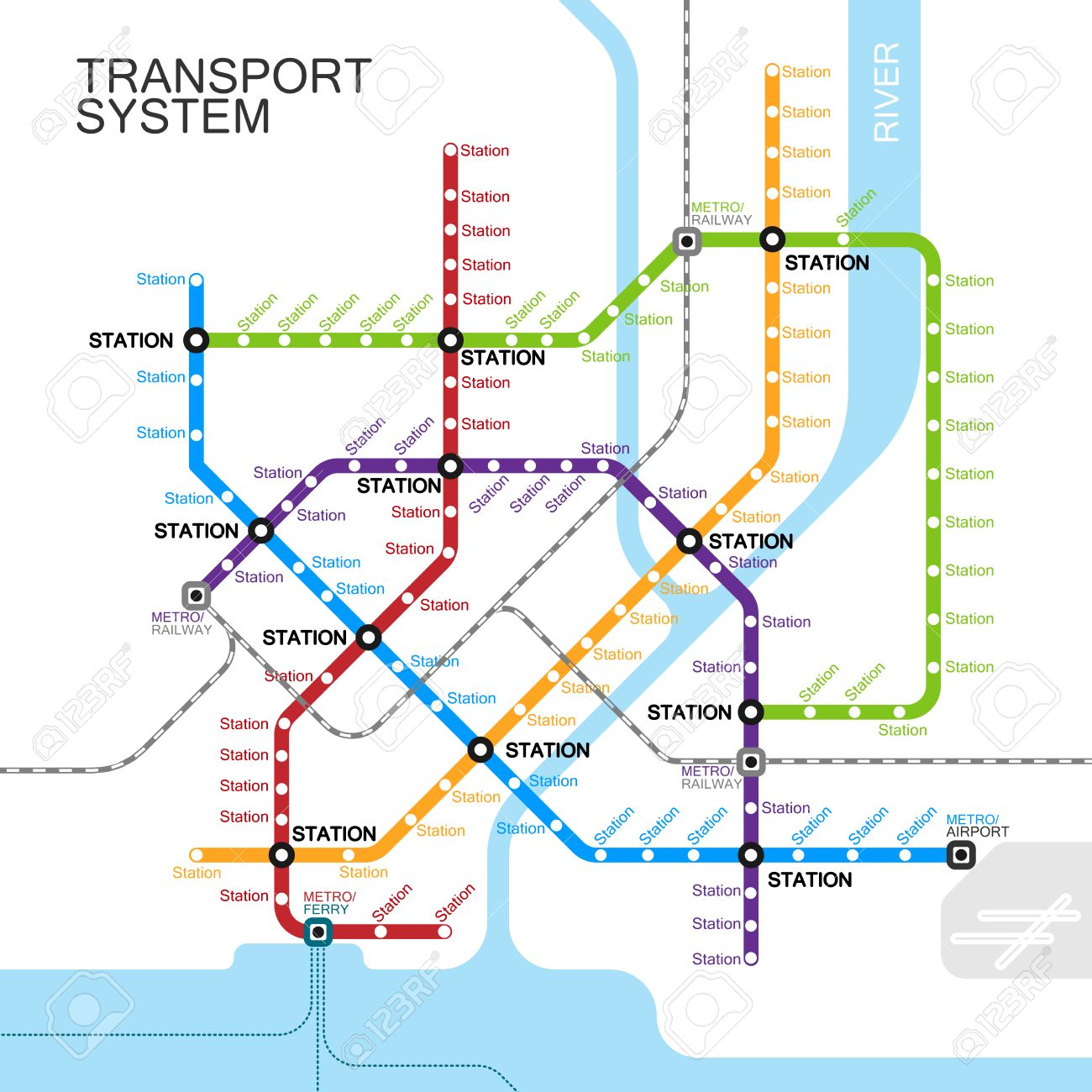 Subway Map Train.Metro Or Subway Map Design Template City Transportation Scheme