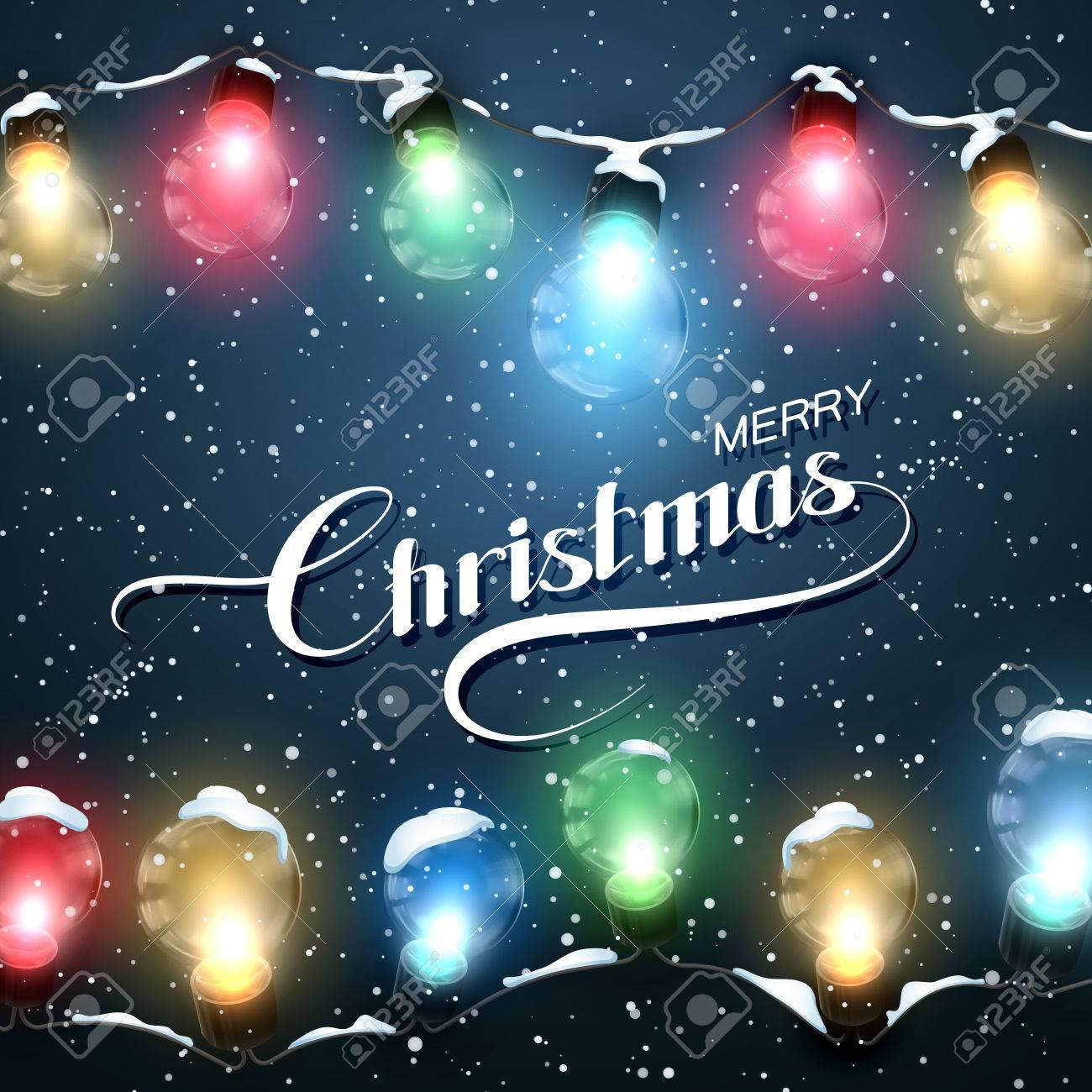 Merry Christmas Lights.Merry Christmas Christmas Lights With Snow Vector Holiday Illustration