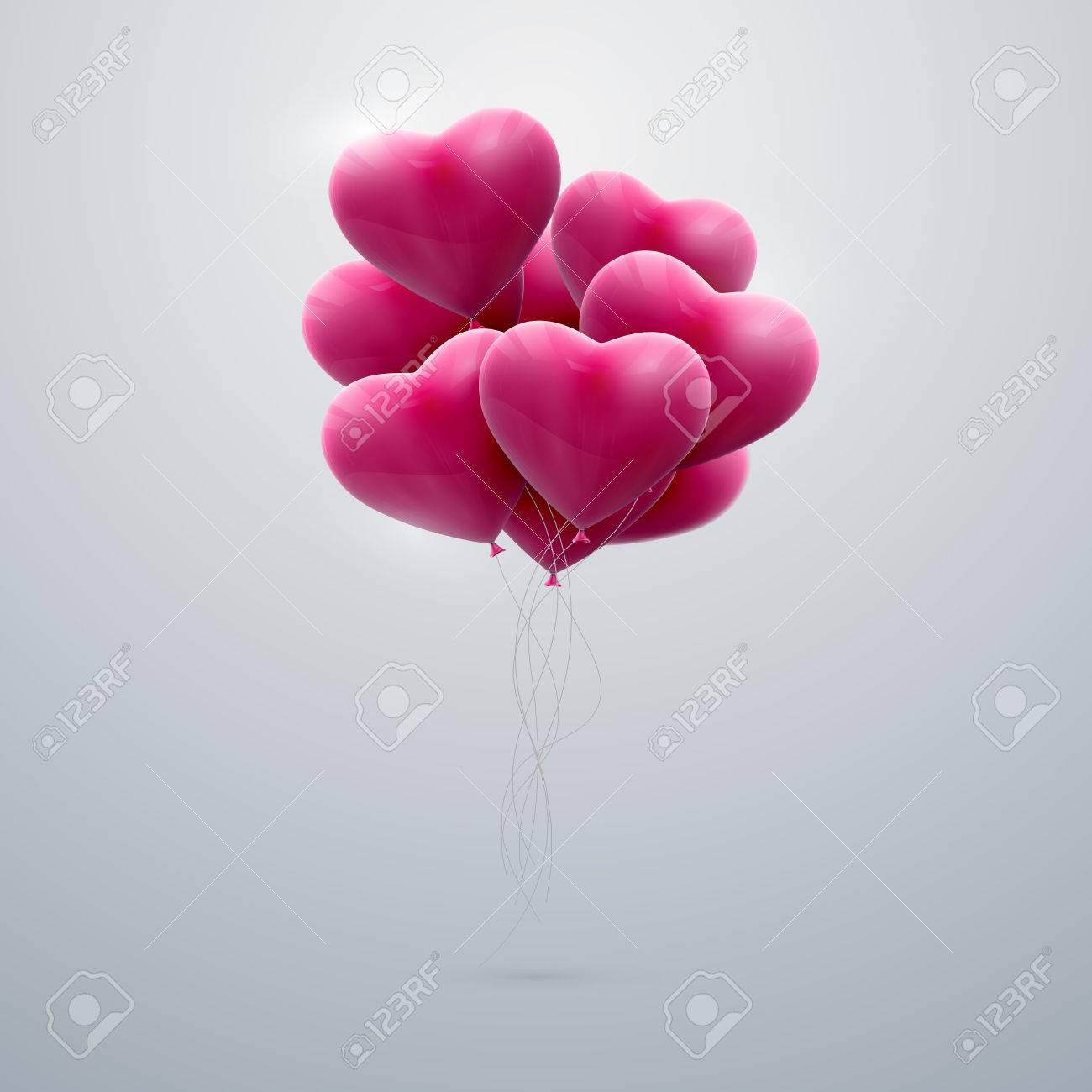 vector holiday illustration of flying bunch of pink balloon hearts. Happy Valentines Day - 49697511