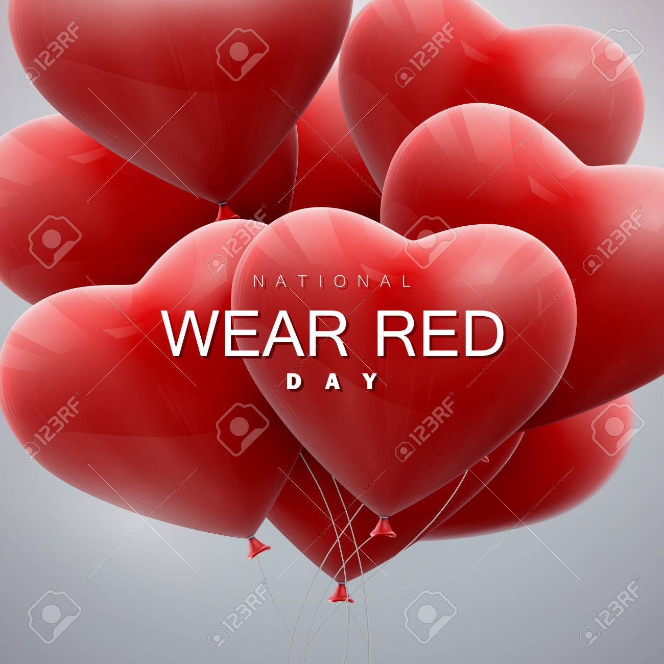 National wear red day. Vector holiday illustration of flying bunch of balloon hearts. - 52042782