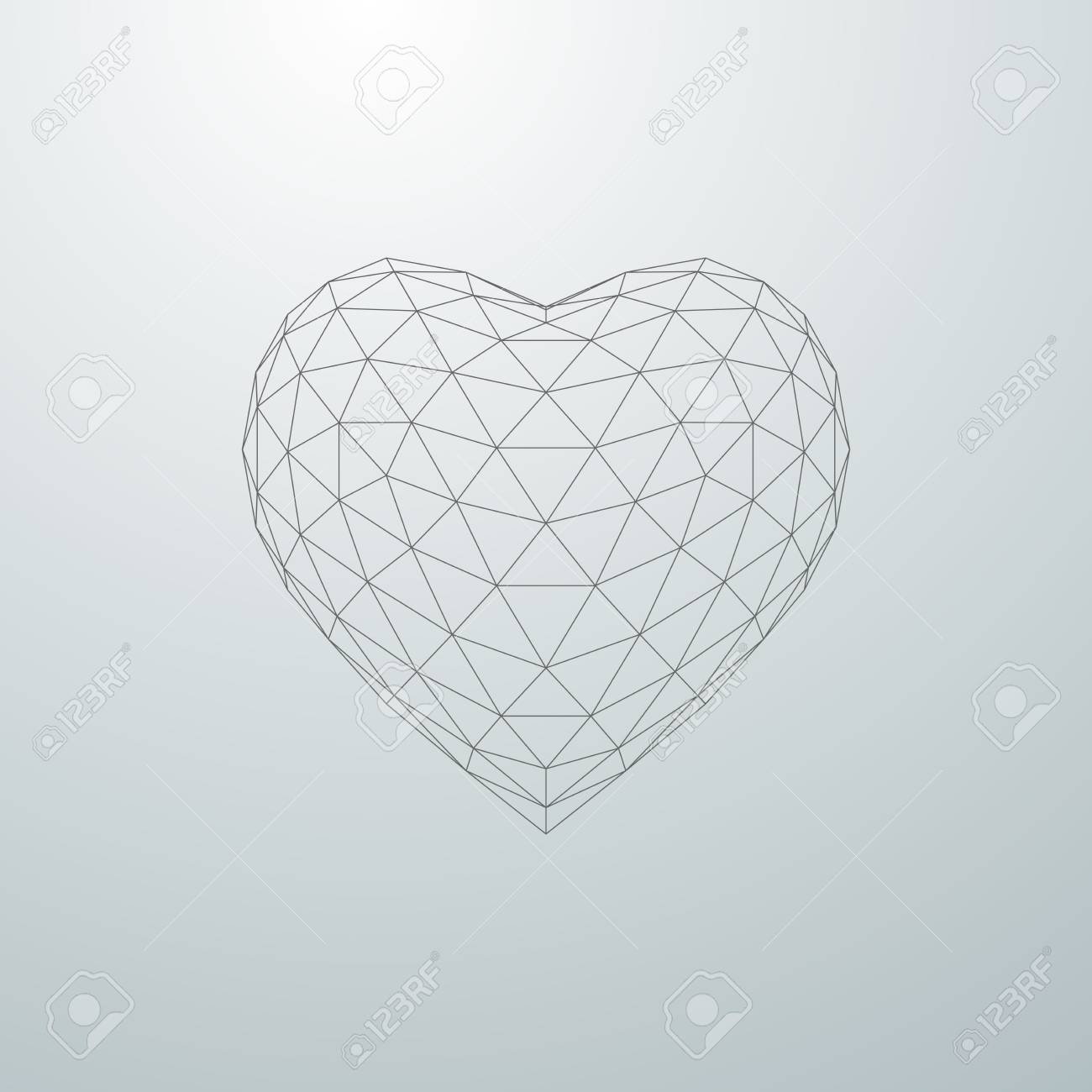 Happy Valentines Day  3D heart shape of particle array and wireframe