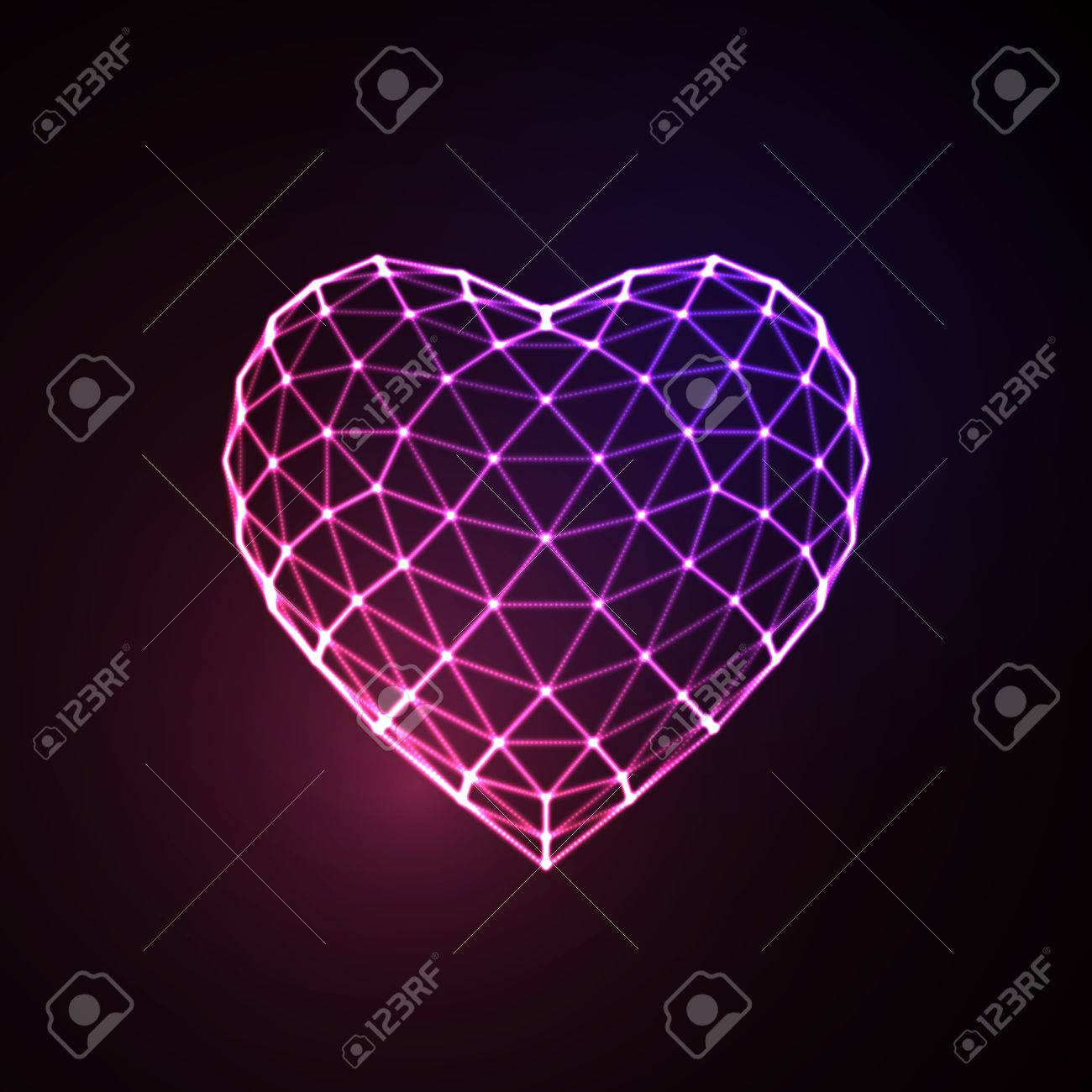 Happy Valentines Day. 3D illuminated neon heart of glowing particles and wireframe. Vector illustration. - 53133370
