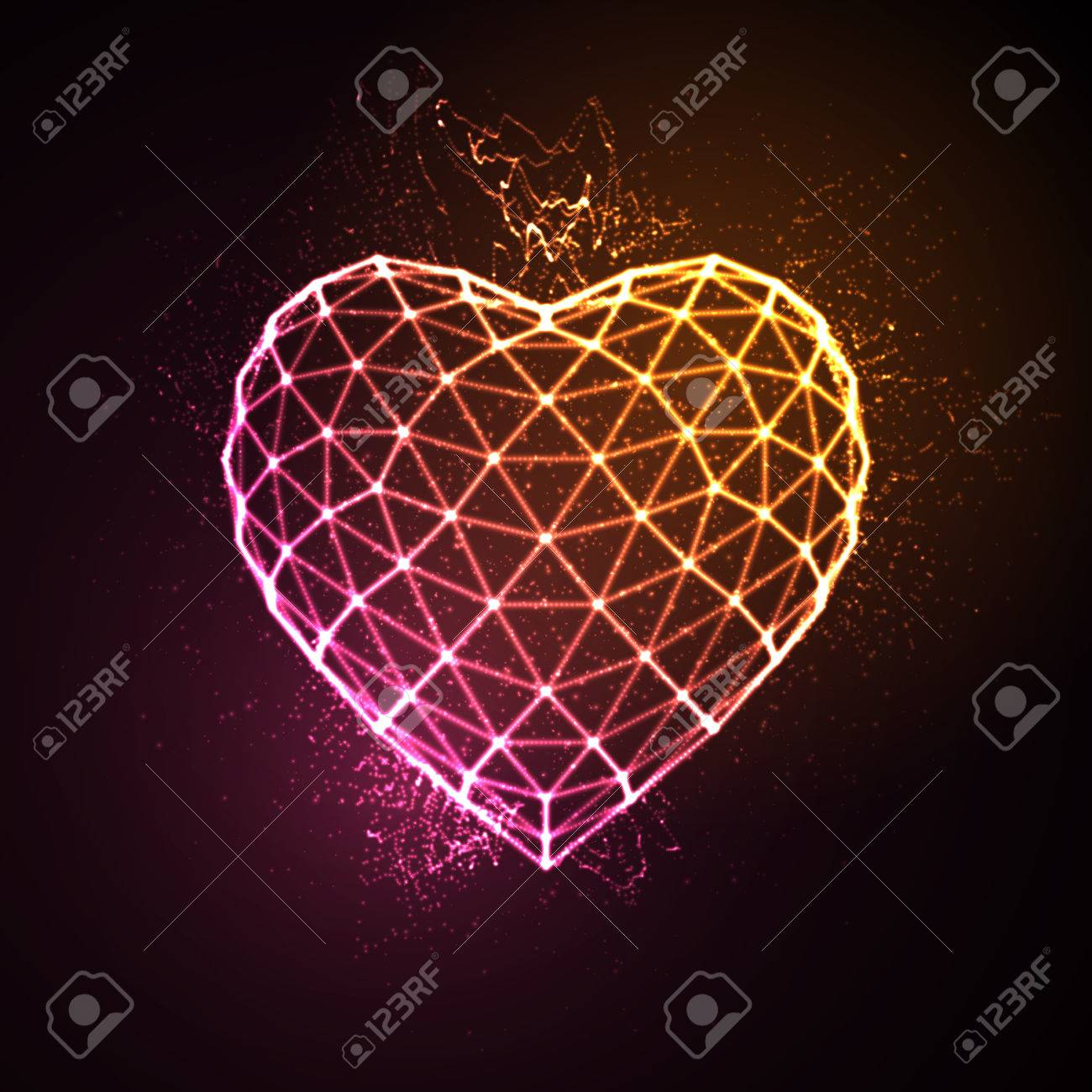 Happy Valentines Day. 3D illuminated neon heart of glowing particles and wireframe. Vector illustration. - 53133381