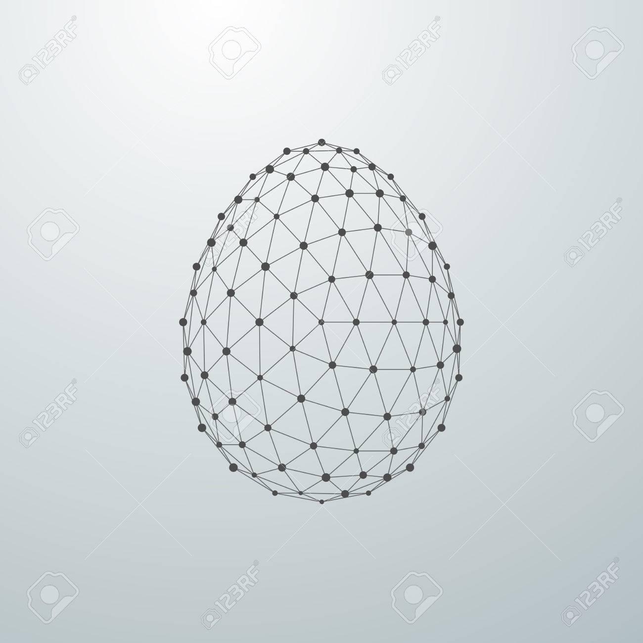 Easter egg 3D polygonal shape. Vector illustration - 53133385