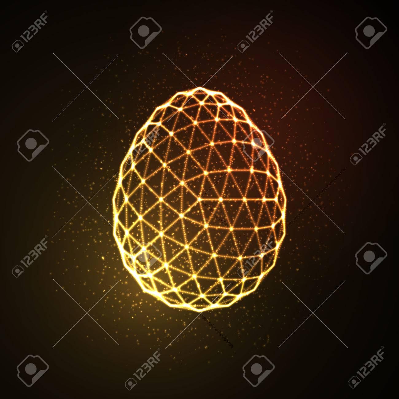 Easter egg 3D polygonal shape. Neon glowing sign. Vector illustration - 53133387