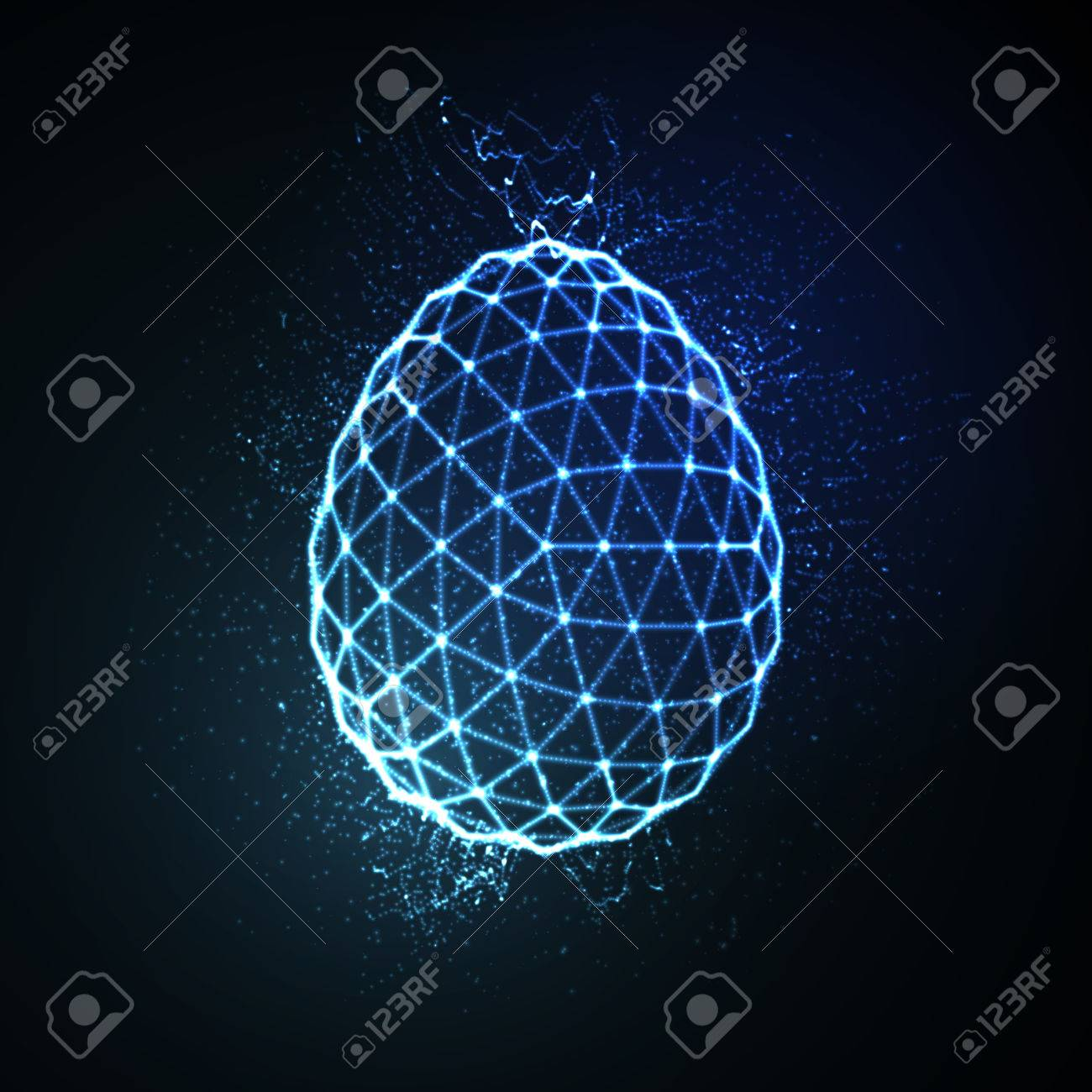 Easter egg 3D polygonal shape. Neon glowing sign. Vector illustration - 53133419