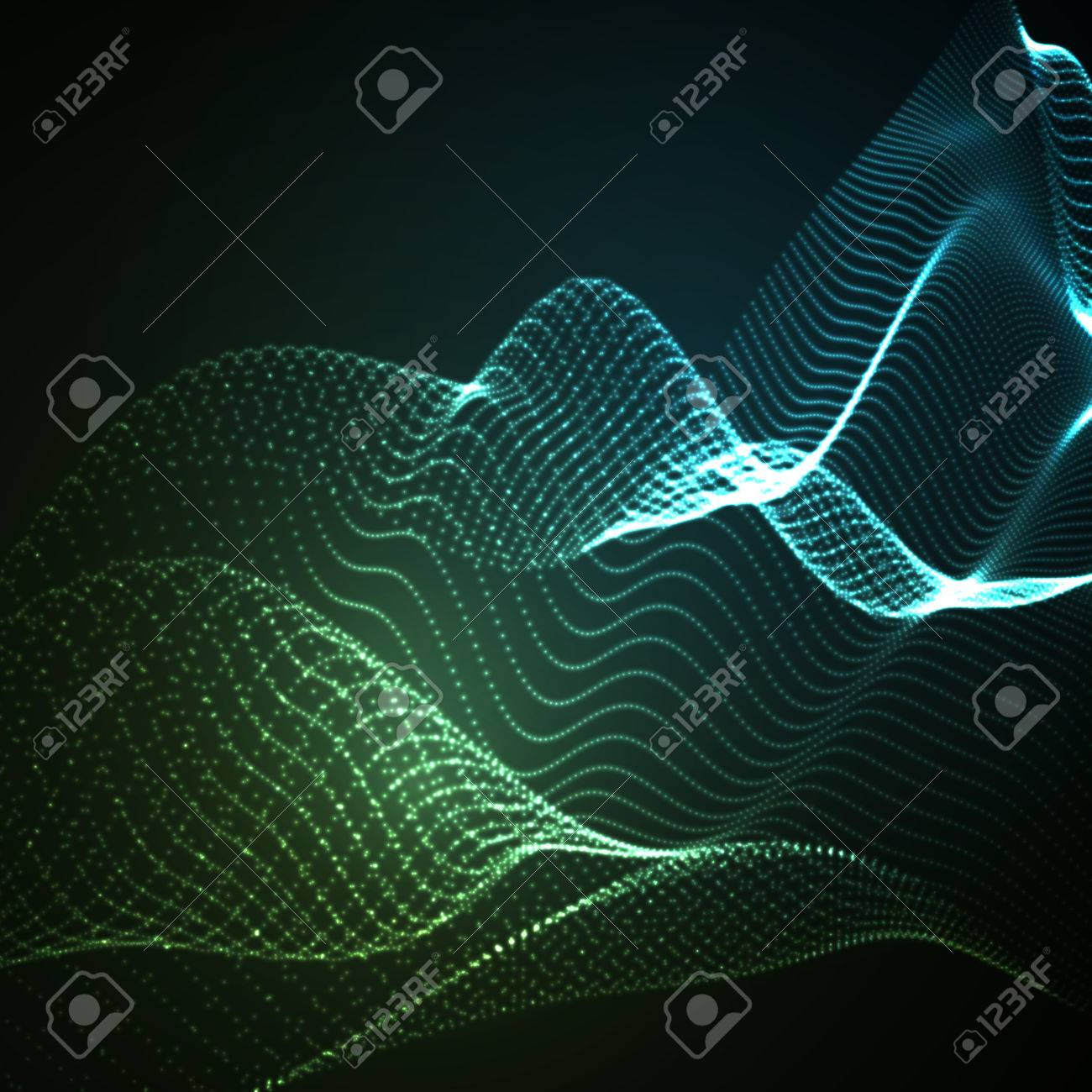 3D illuminated abstract digital wave of glowing particles and wireframe. Neon Sign. Futuristic vector illustration. HUD element. Technology concept. Abstract background - 53133424
