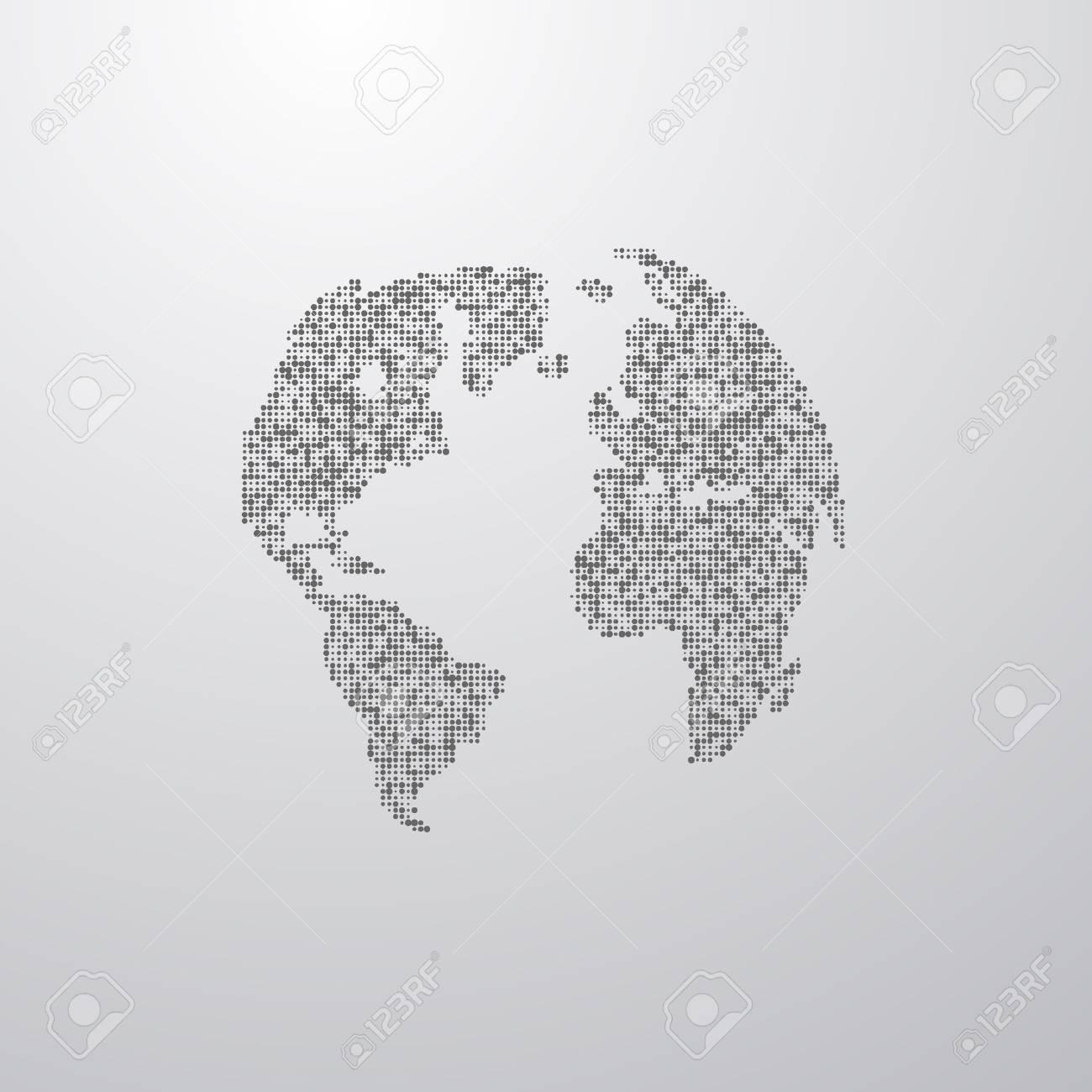 Vector Illustration Of A World Map. Globe Label Design. World ...