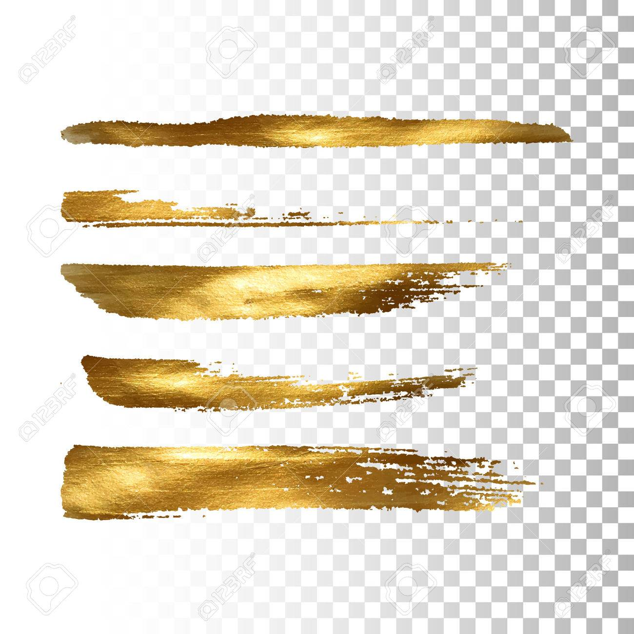 Golden paint brush stroke set. Vector gold paint brush stroke collection. Abstract gold glittering textured brush strokes. Vector illustration of a golden foil banners - 57642036