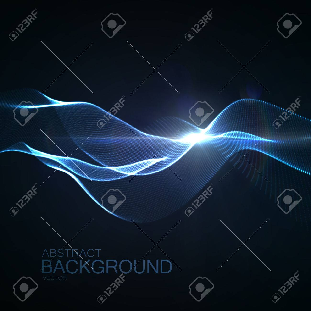 3D Illuminated Abstract Digital Wave Of Glowing Particles And Flare Lens Light Effect Futuristic Vector