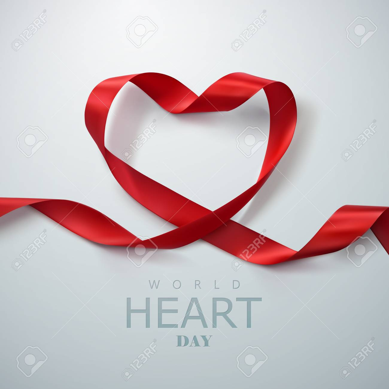World Heart Day Background. Realistic satin ribbon heart with World Heart Day label. Vector illustration. Medical awareness day concept - 65399736