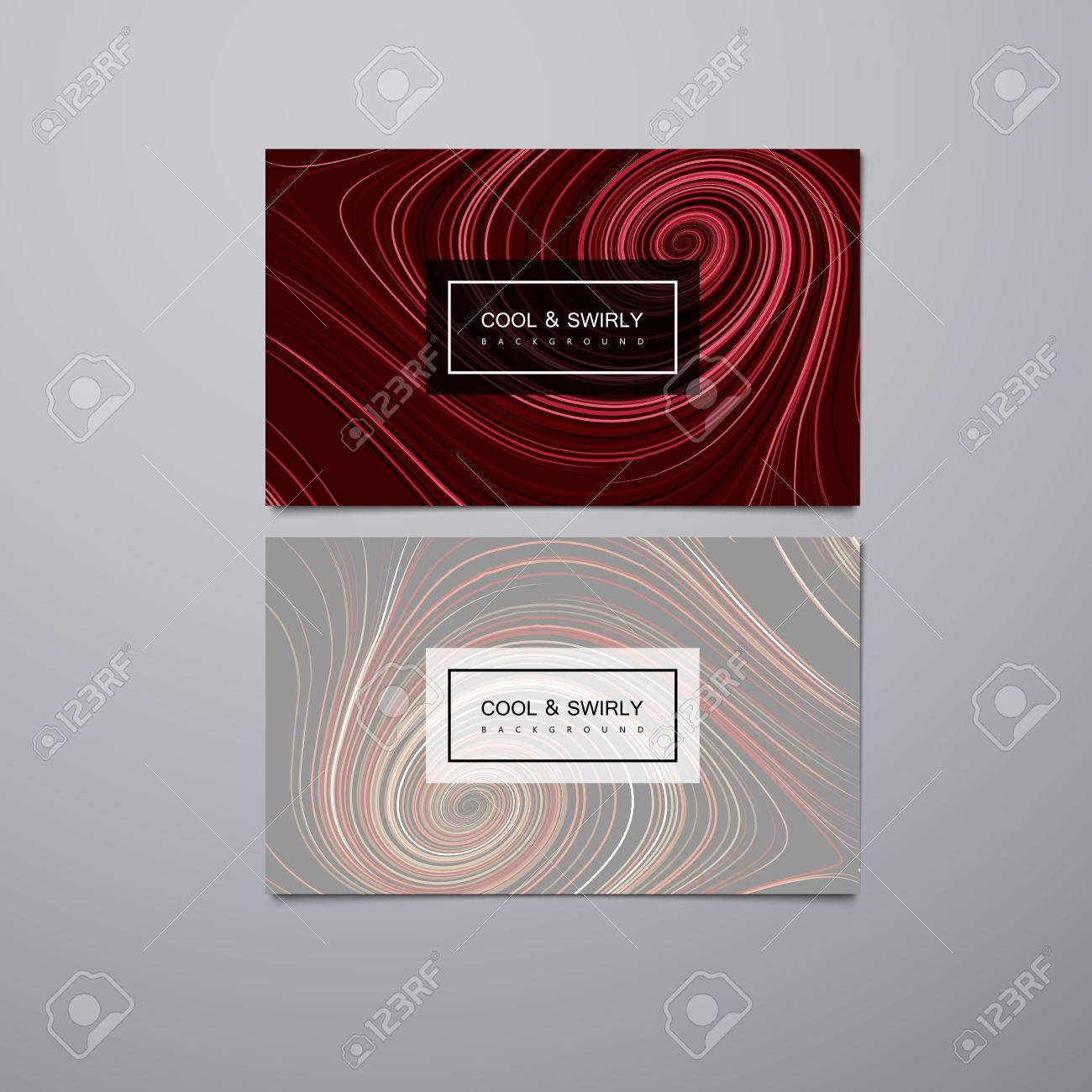Greeting Invitation Or Business Cards Design Template With Swirled Stripes Vector Illustration Of Swirled And Curled Stripes Background Marble Or